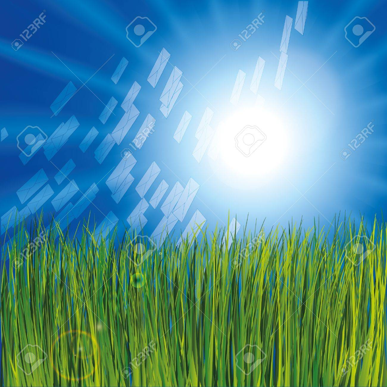 Grass and sunny sky as background with envelops Stock Vector - 9935054