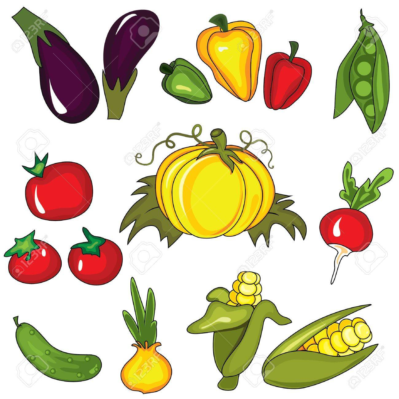 Set of vegetables isolated on the white background. Design elements Stock Vector - 10049629