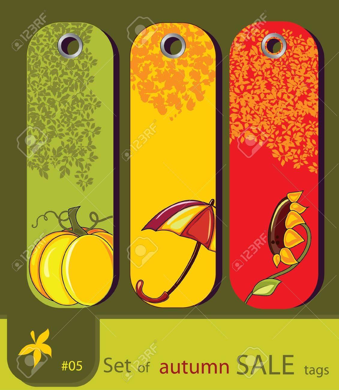 Set of retro sale nature autumn tags with sunflower, umbrella, pumpkin Stock Vector - 10049634
