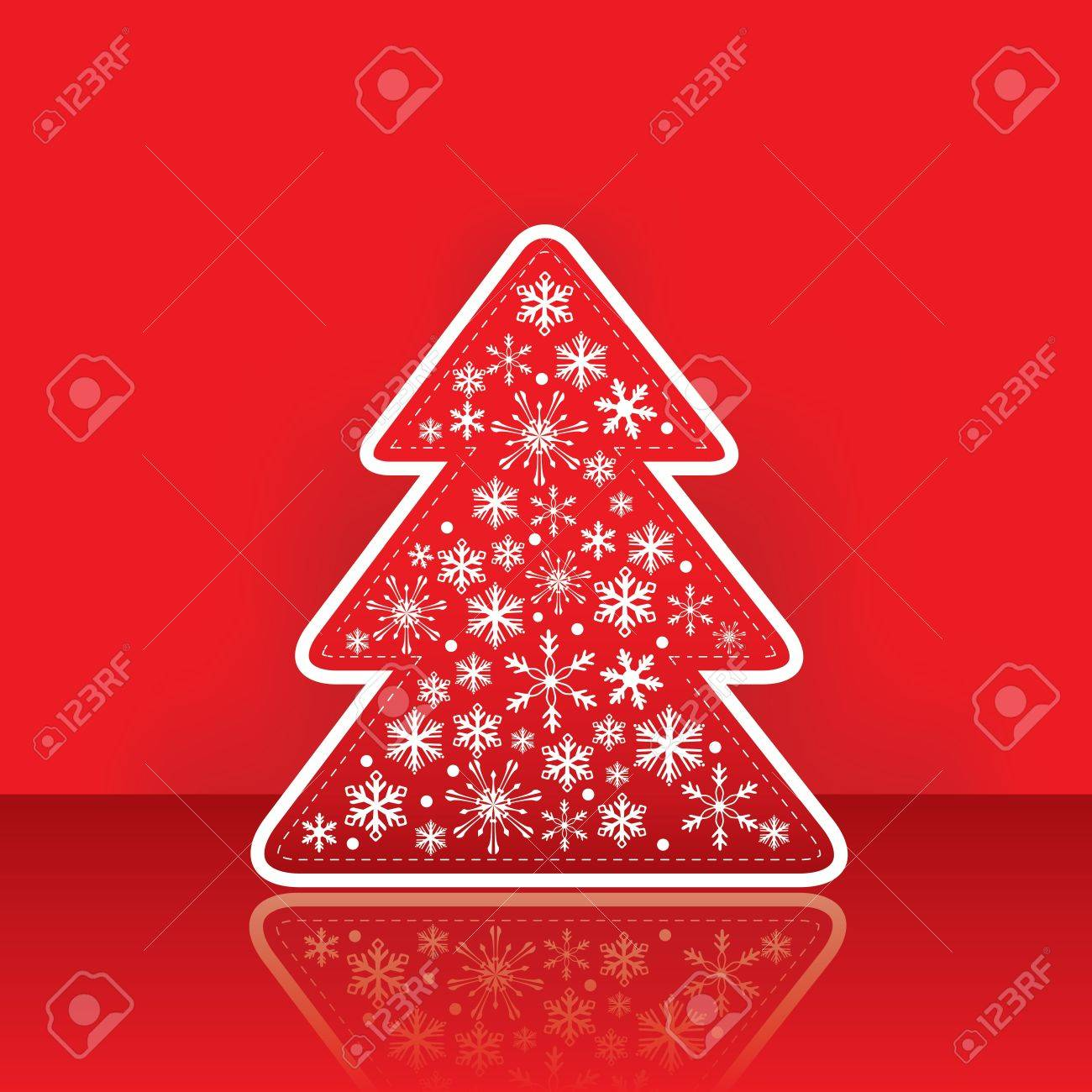 Christmas greeting card with tree with snowflake on the red traditional background Stock Vector - 10521919