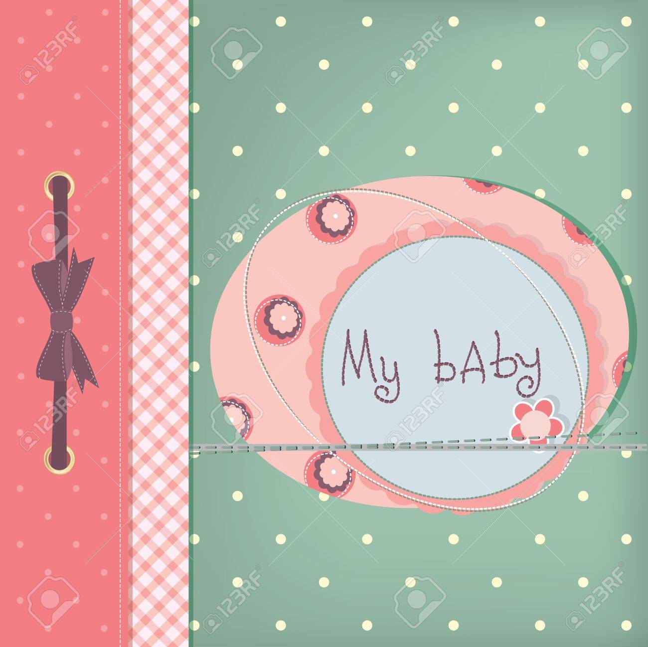 Baby girl greeting card. Frame and place for your text or picture Stock Vector - 10668561