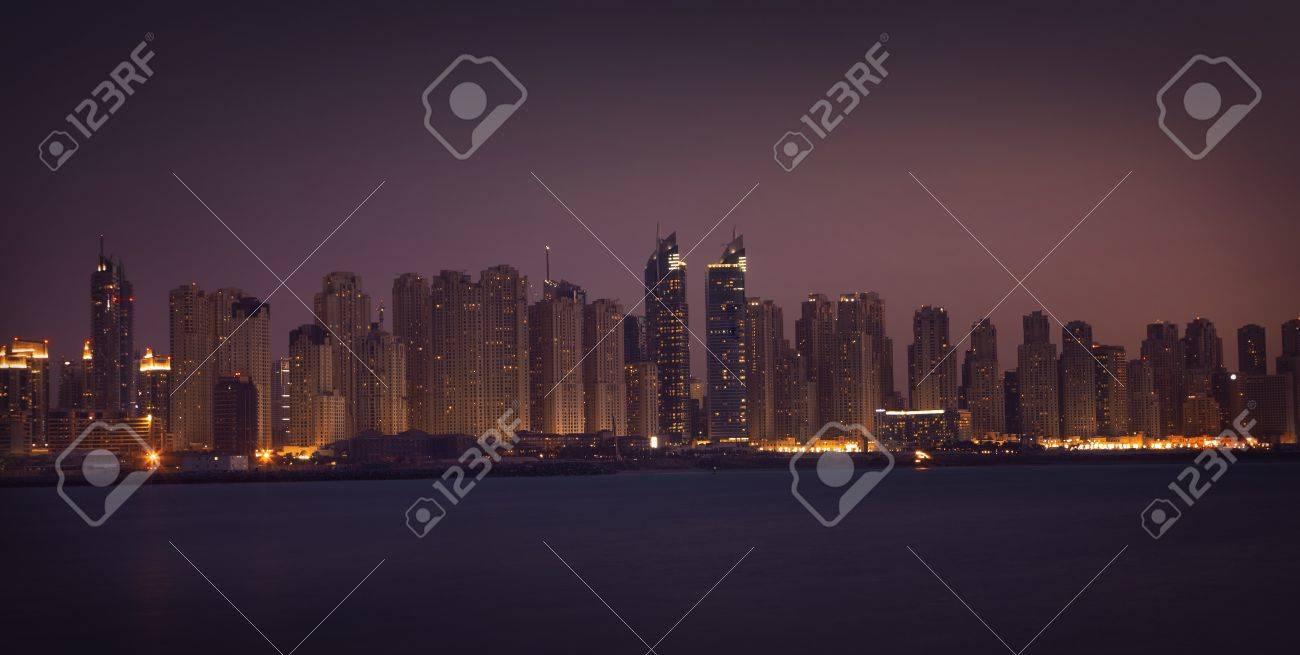 Dubai Marina in the night. Panoramic view from gulf Stock Photo - 12433220
