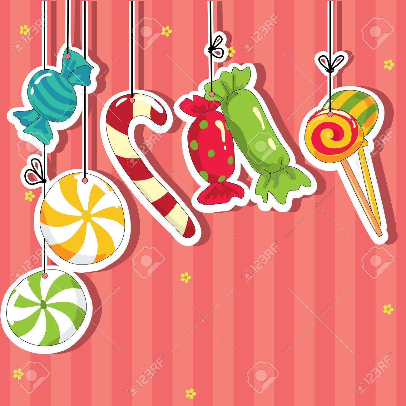 Sweets on strings. Vector illustration. Stock Vector - 12751393