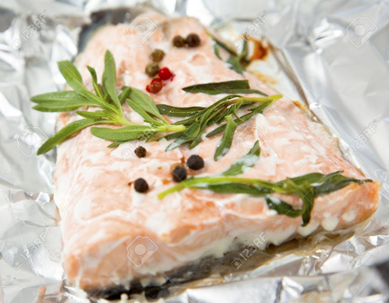 Salmon steak baked in foil paper Stock Photo - 13071423