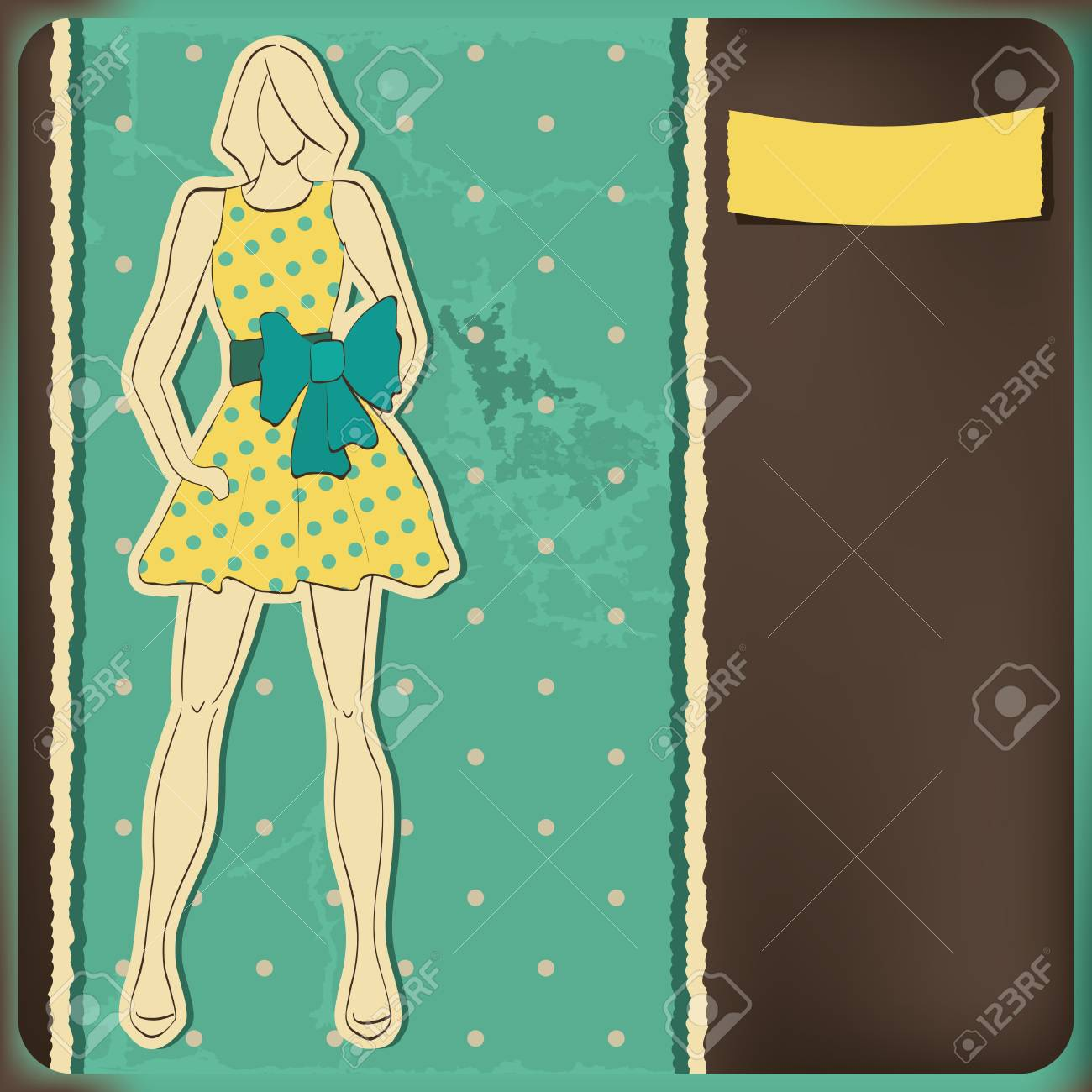 Fashion model on the retro polka dots background Stock Vector - 13319031