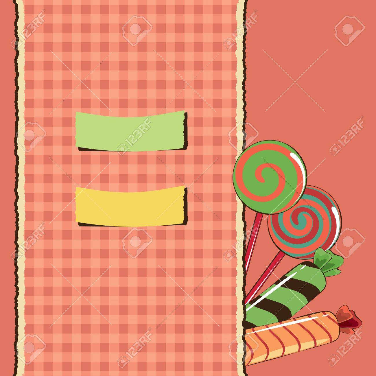 Sweets with checked background Stock Vector - 13680857