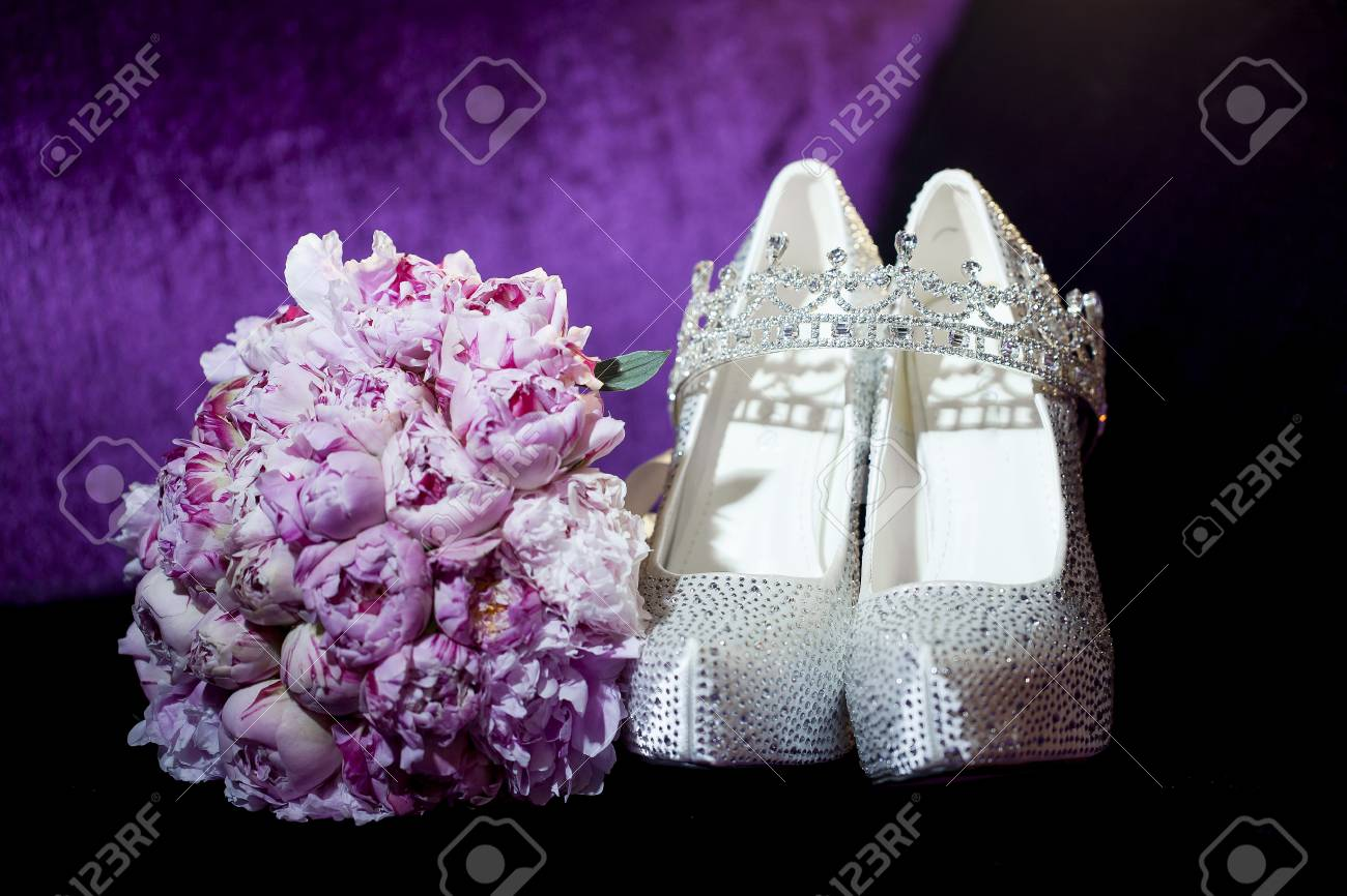 Peony Flowers. Wedding Bouquet With Shoes And Crown On Violet ...