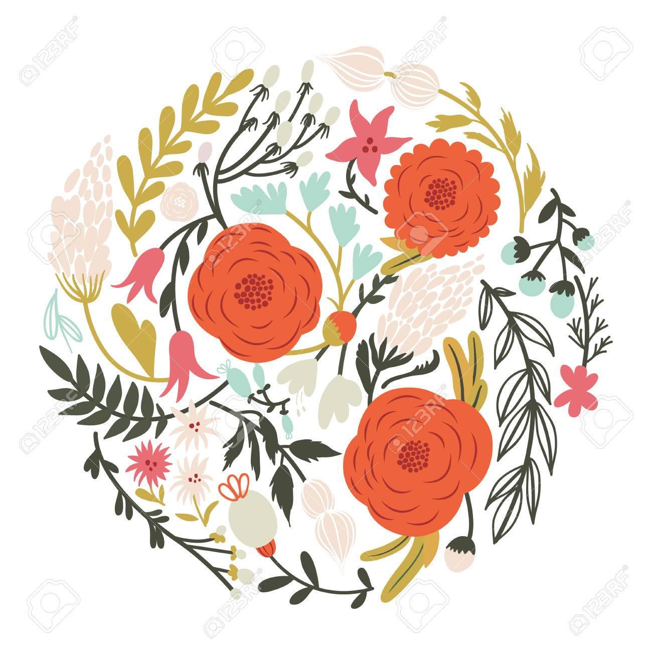 Beautiful circle of flowers in vector romantic cartoon invitation beautiful circle of flowers in vector romantic cartoon invitation card stylish design element stock izmirmasajfo