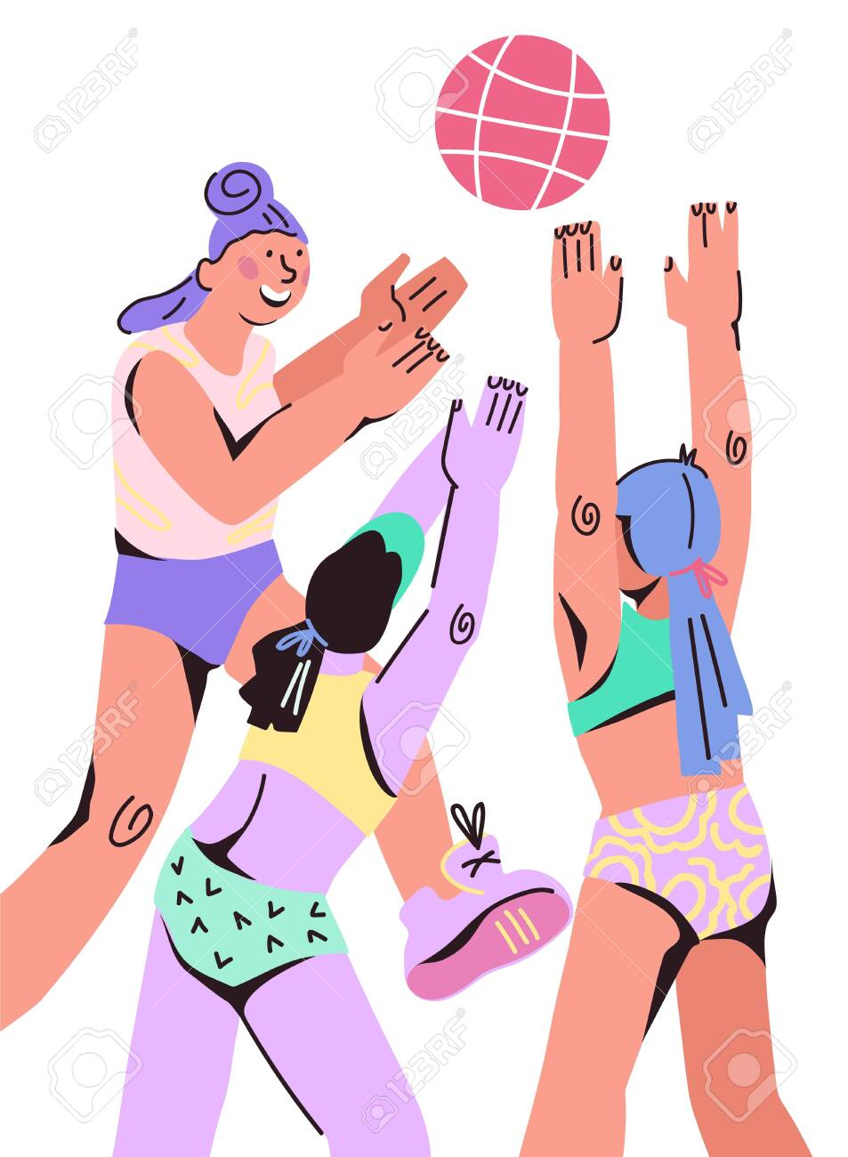 Womens Beach Volleyball Or Basketball Team Players In Trendy Royalty Free Cliparts Vectors And Stock Illustration Image 137682694