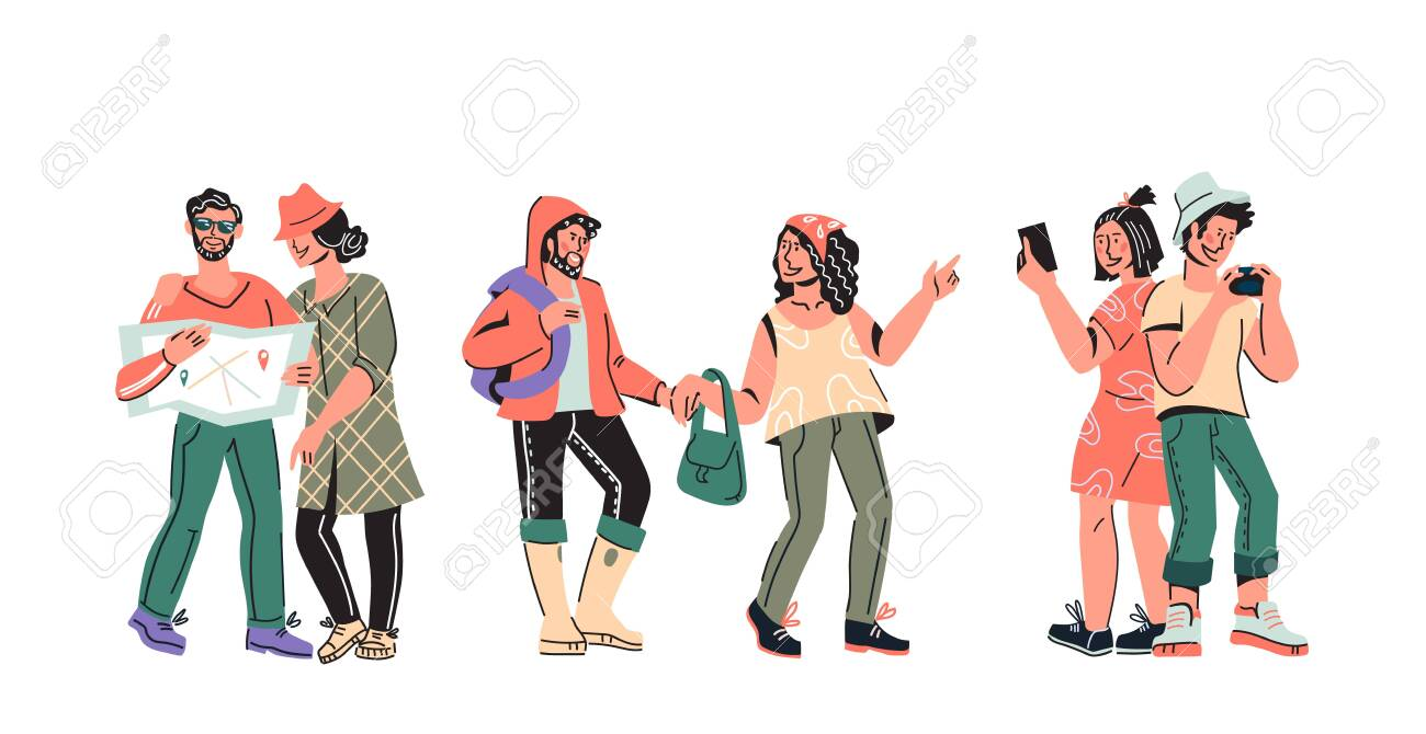 Tourists and travelers group - people cartoon characters vector illustration isolated. - 140758512