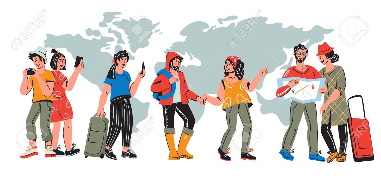 International tourism banner with travelers. Characters of young people traveling around the world at map background. Vacation tour and journey concept. Flat cartoon vector illustration. - 141644087