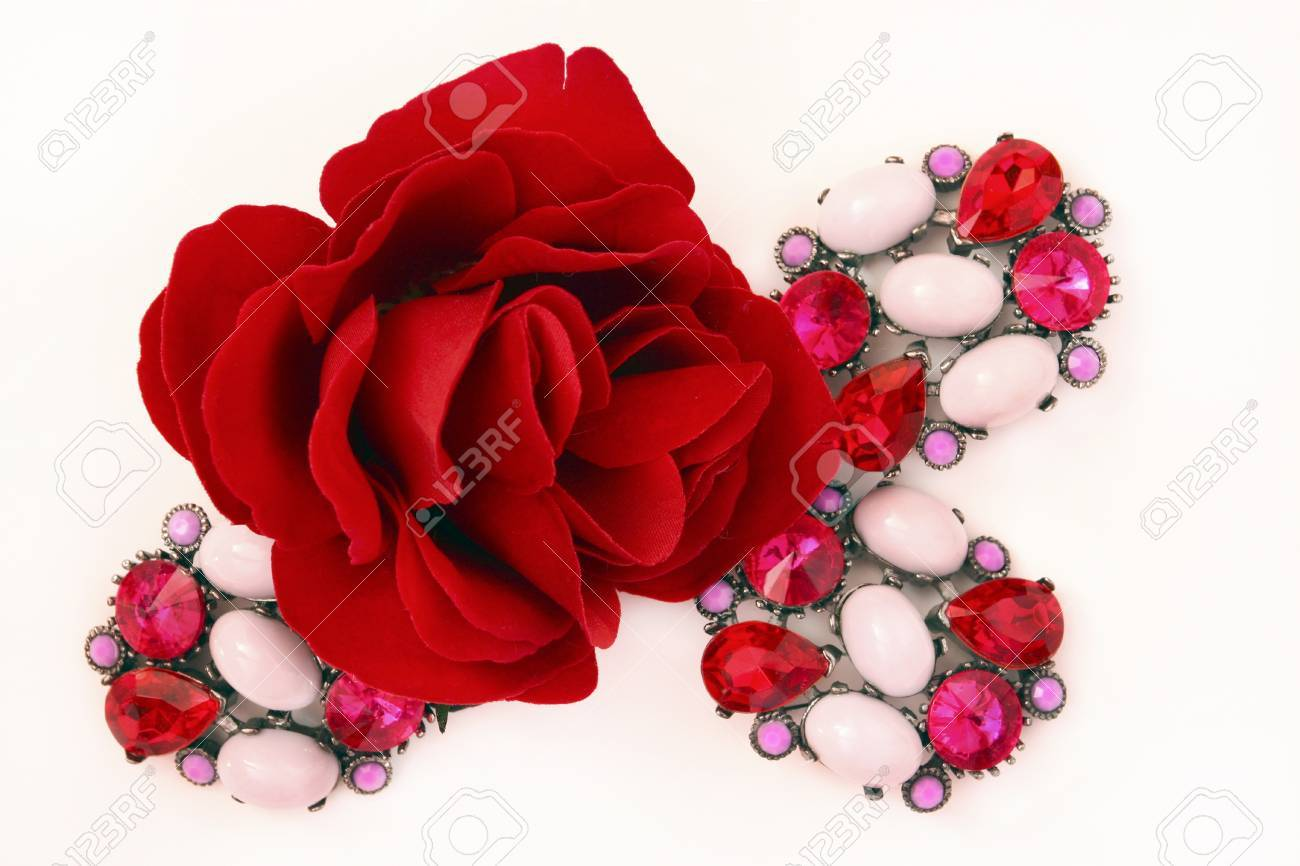 Decorative rose and brooches Stock Photo - 13214394