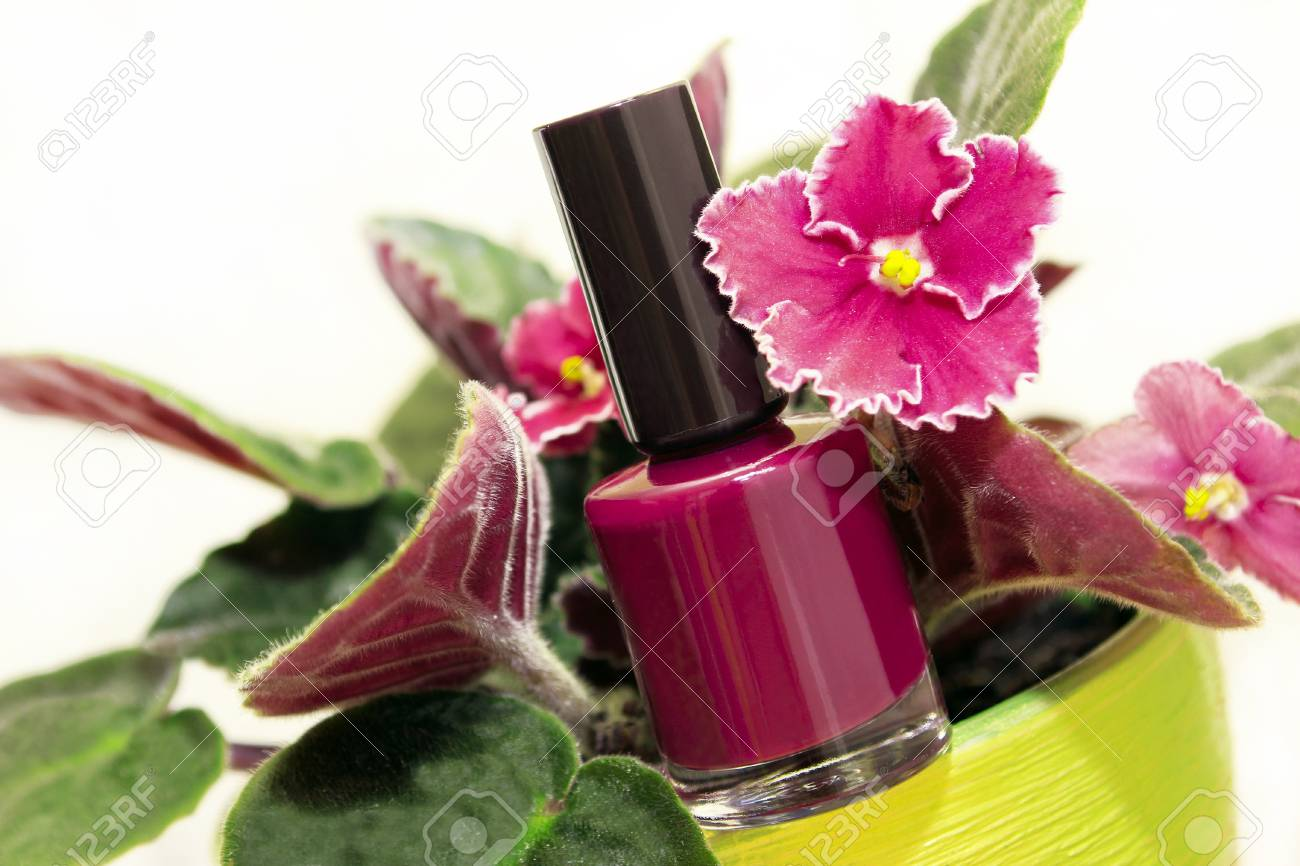 Nail Polish with Violet flower on a white background. Stock Photo - 15487760