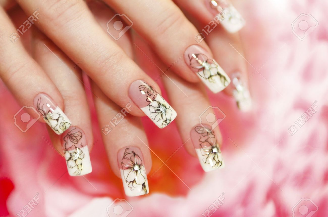 Floral French Manicure On The Pink White Background Stock Photo ...