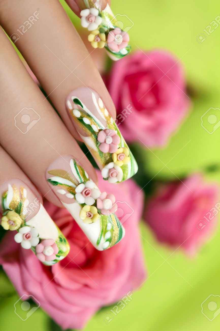 Summer Acrylic Roses On Artificial Nails With Roses On A Green ...