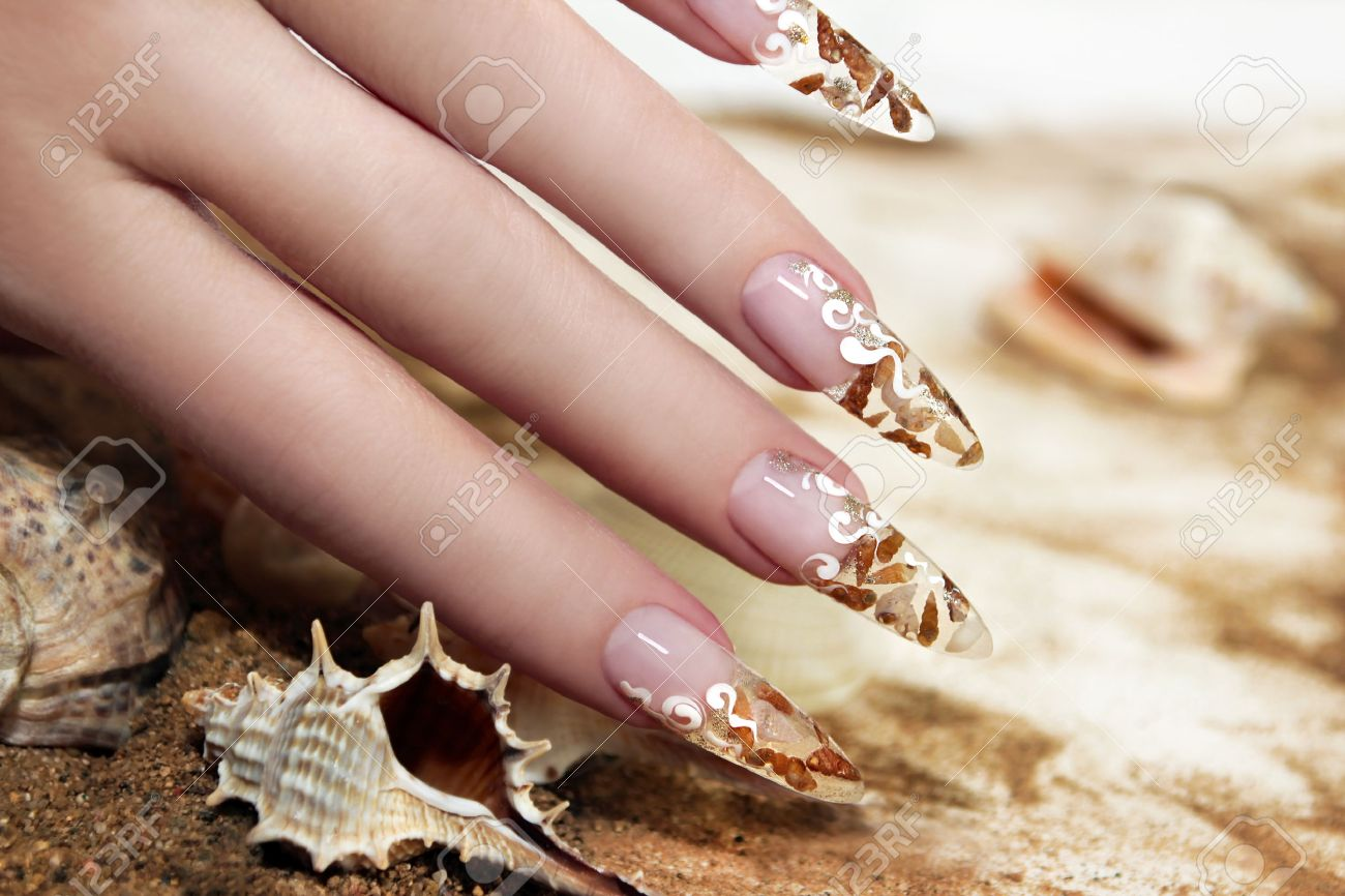 Nail Design With Brown And White These Little Shells Inside Gel ...
