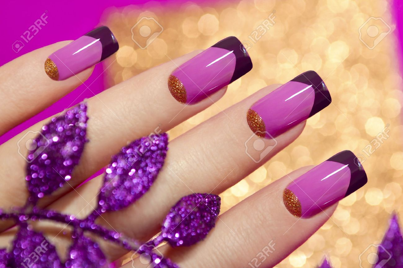 Two-tone French Manicure Pink And Purple Colors For Brilliant ...