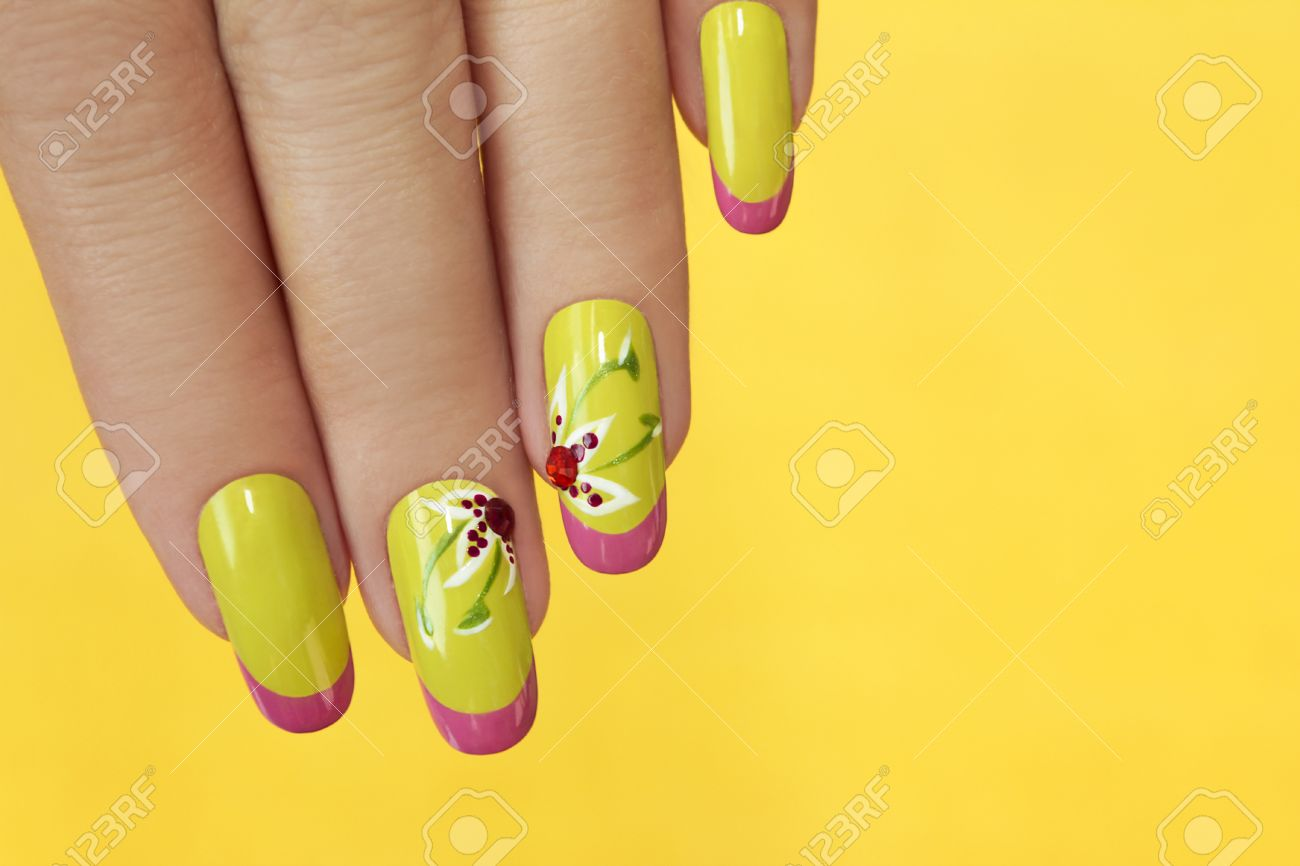 French Green Manicure With Design Of Flowers With Rhinestones ...