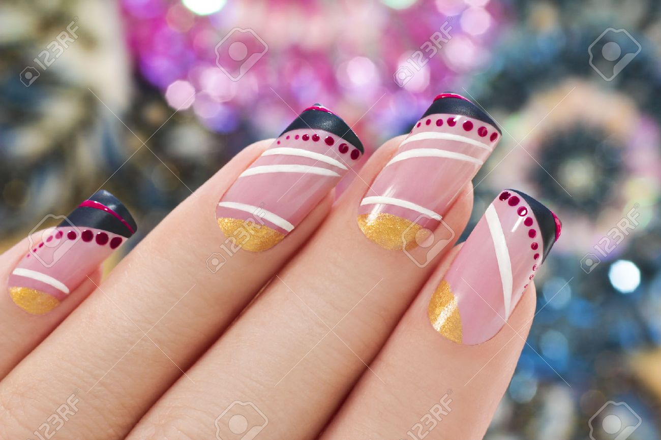 Elegant Nail Design On A Rectangular Shape Nails Covered With ...