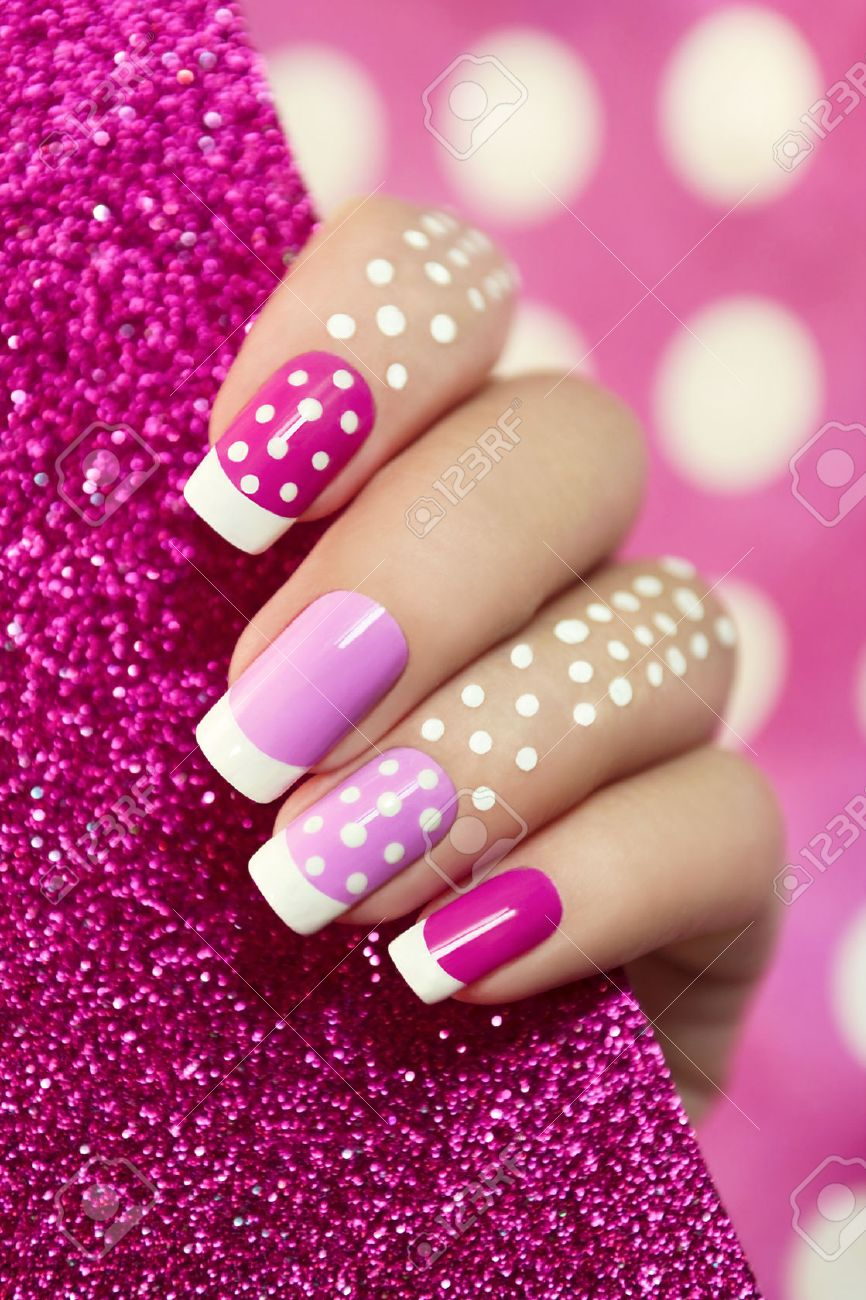 French Manicure With Pink Shades And White Dots On A Brilliant Stock Photo Picture And Royalty Free Image Image 32448362