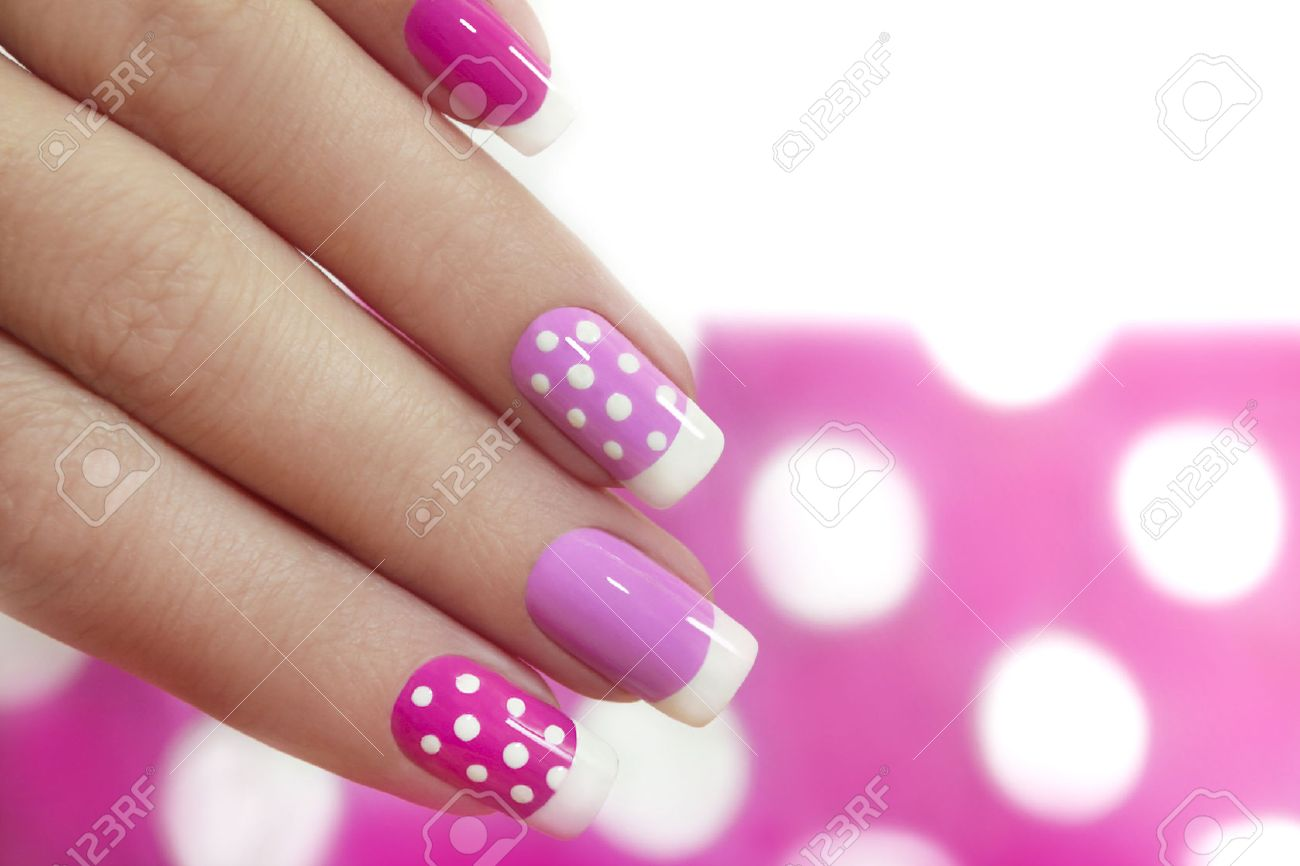 Nail Design With White Dots On The French Manicure With Pink.. Stock ...