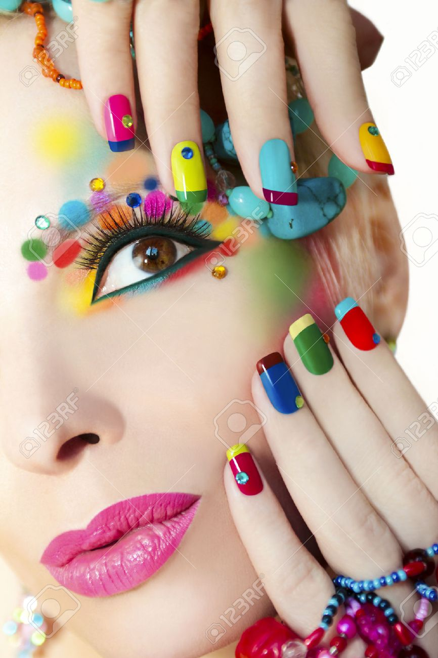 Colorful French Manicure And Makeup On The Girl With Rhinestones Stock Photo