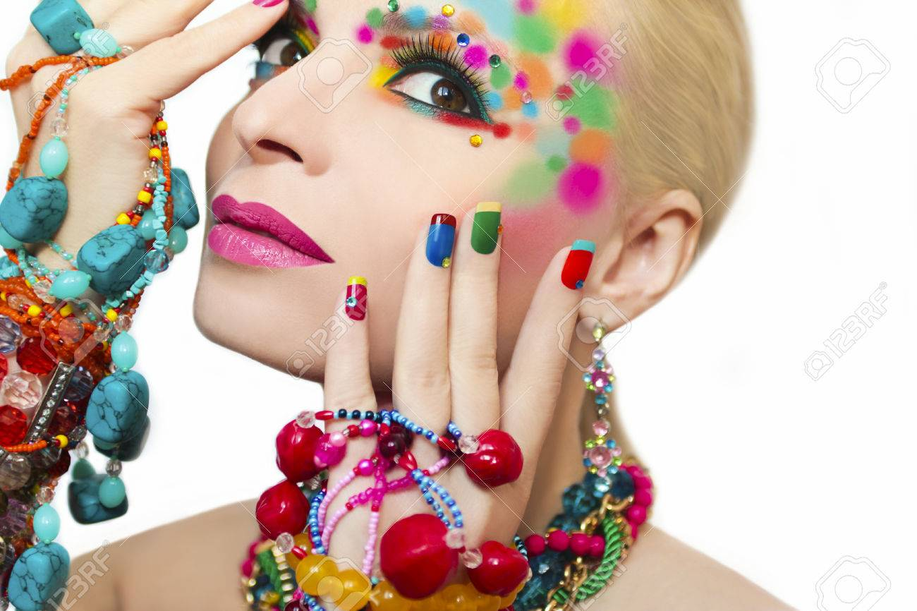 Colorful Makeup And Manicure