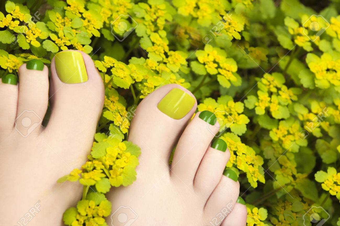 Colorful Summer Pedicure In Flowers Plants Yellow And Green Stock