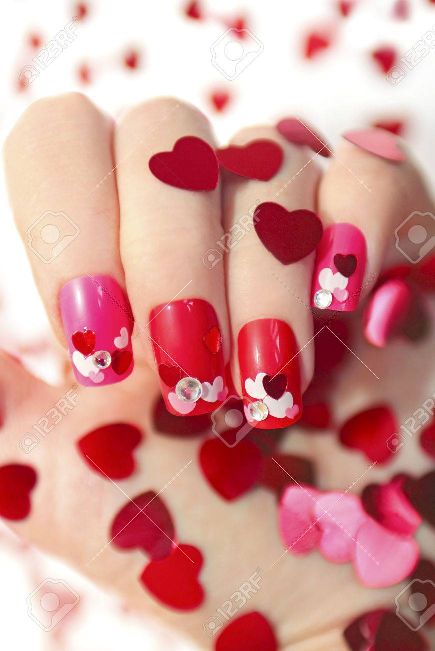 Nail Designs With Different Sequins In The Shape Of Hearts On ...