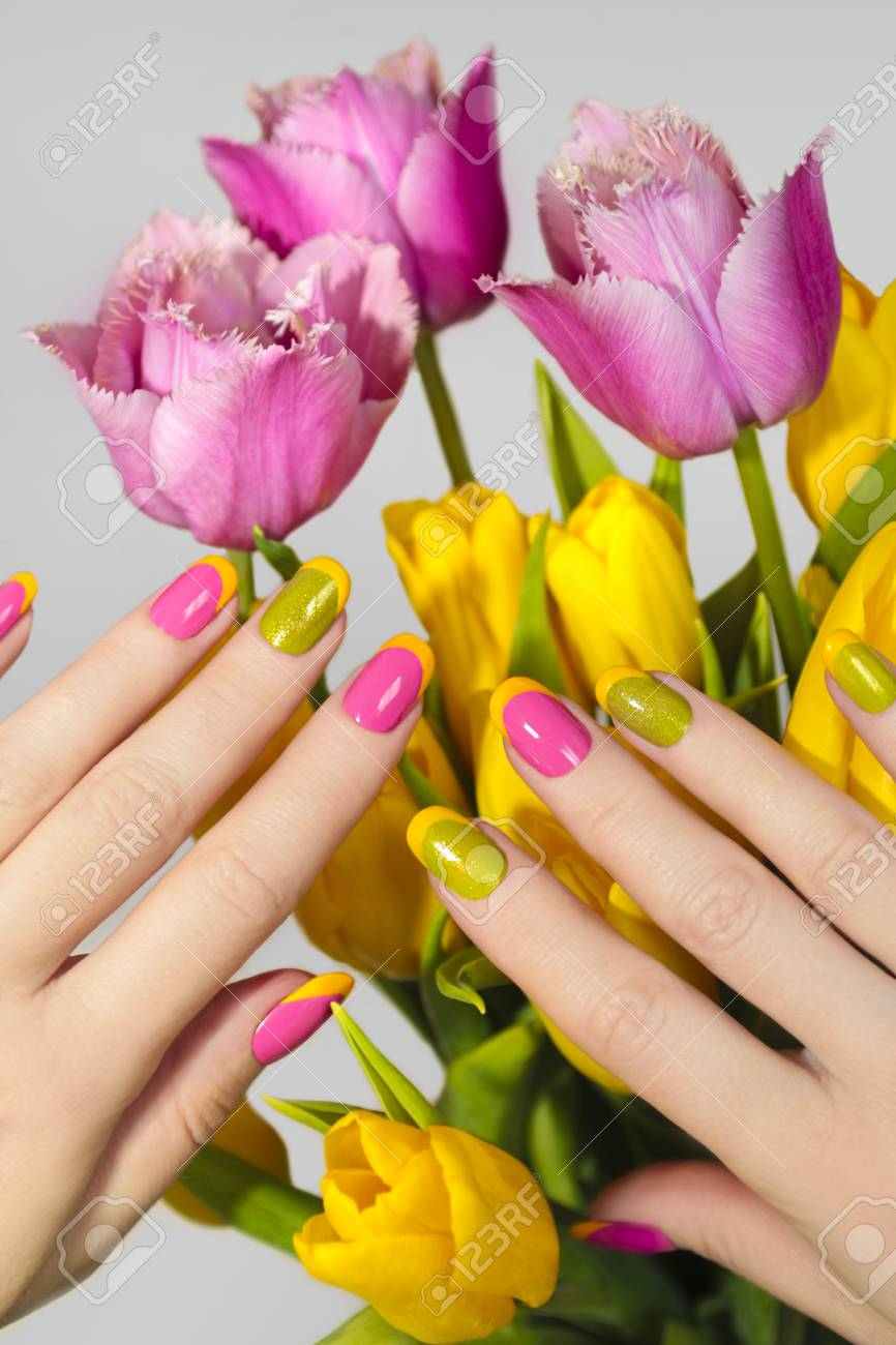 Yellow Green French Manicure With Pink Nail Polish And Tulips ...