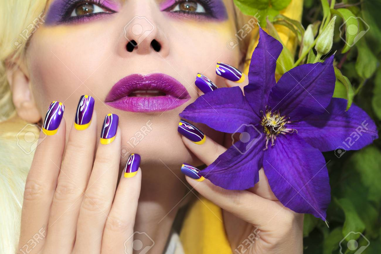 Summer Purple Yellow Makeup And Manicure With Design On Long.. Stock ...