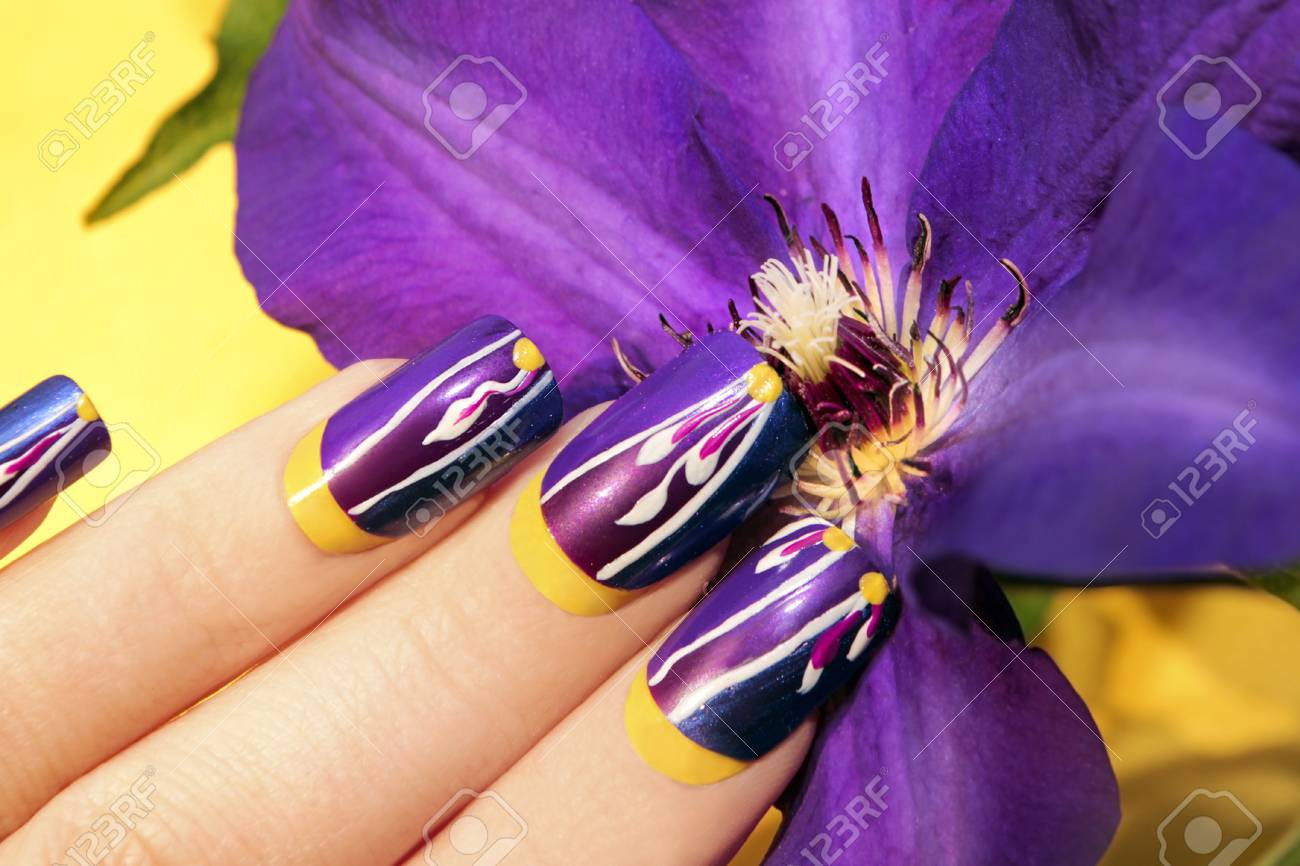 Summer Lilac Yellow Nail Design For Long Nails Square Female.. Stock ...