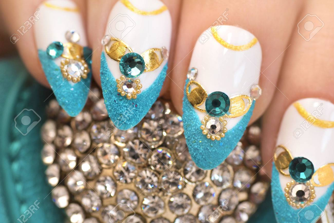 Luxurious Glamorous Sandy Blue French Manicure With Rhinestones Boulongne And Gold Plated Womens Nails Closeup