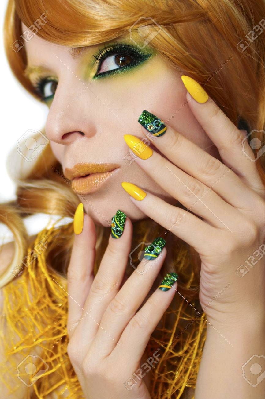 Green Yellow Makeup And Manicure With Rhinestones, Sparkles On ...