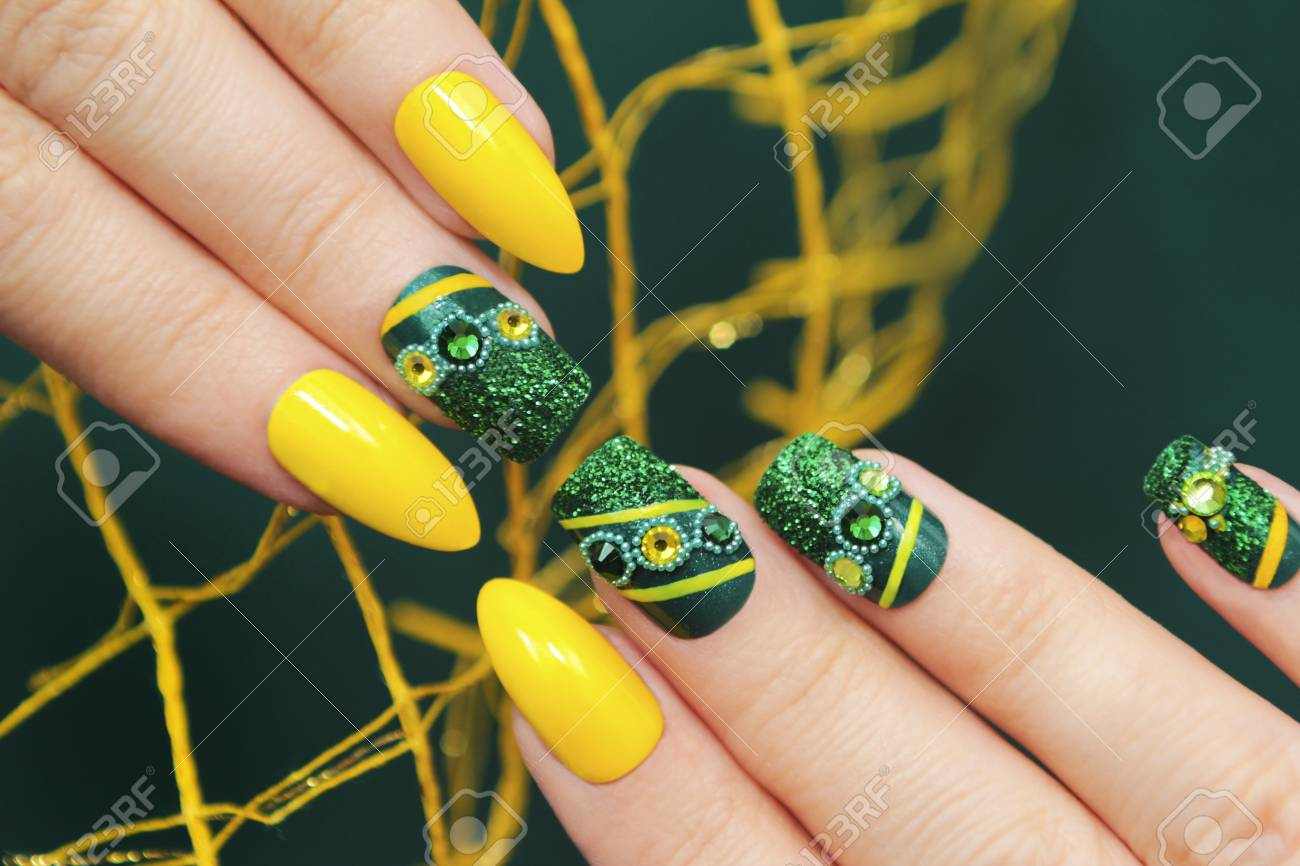 Green Manicure On The Square Of The Form Of The Nails With The ...