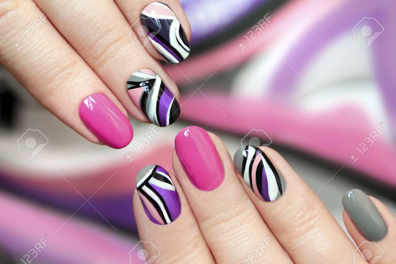 Trendy Rosa Purpura Mujer Polaca De Unas Con Blanco Gris Y Negro