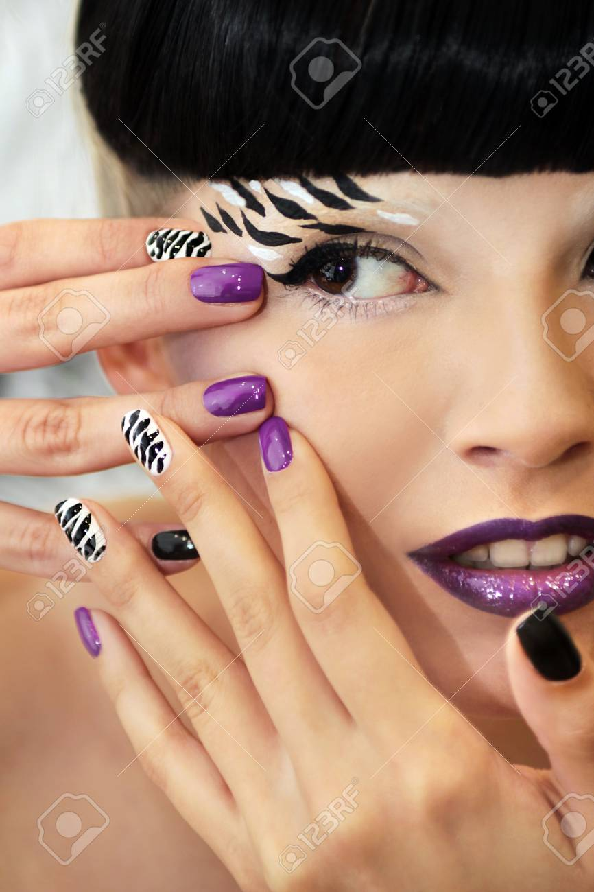 Black And White Striped Print On The Nails And The Makeup On.. Stock ...