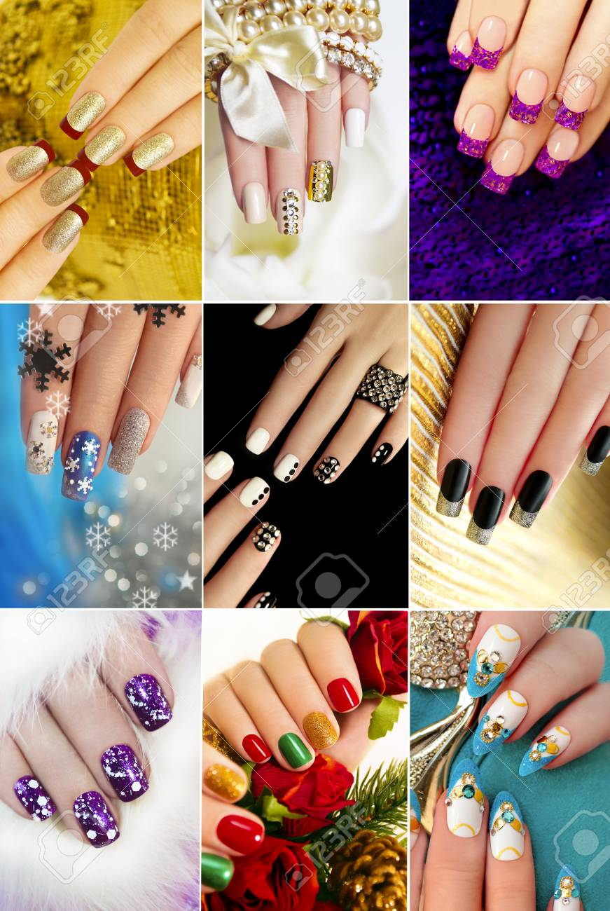 Colorful Christmas Nails Winter Nail Designs With Glitter ...