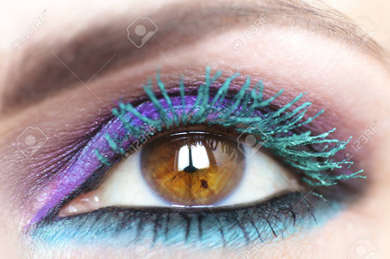 Colorful Bright Makeup On A Brown Eye Closeuplor Turquoise