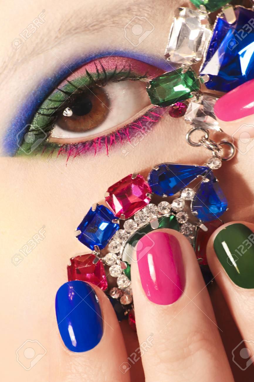 Fashionable Colorful Short Nail Art Design On Female Hand Close ...