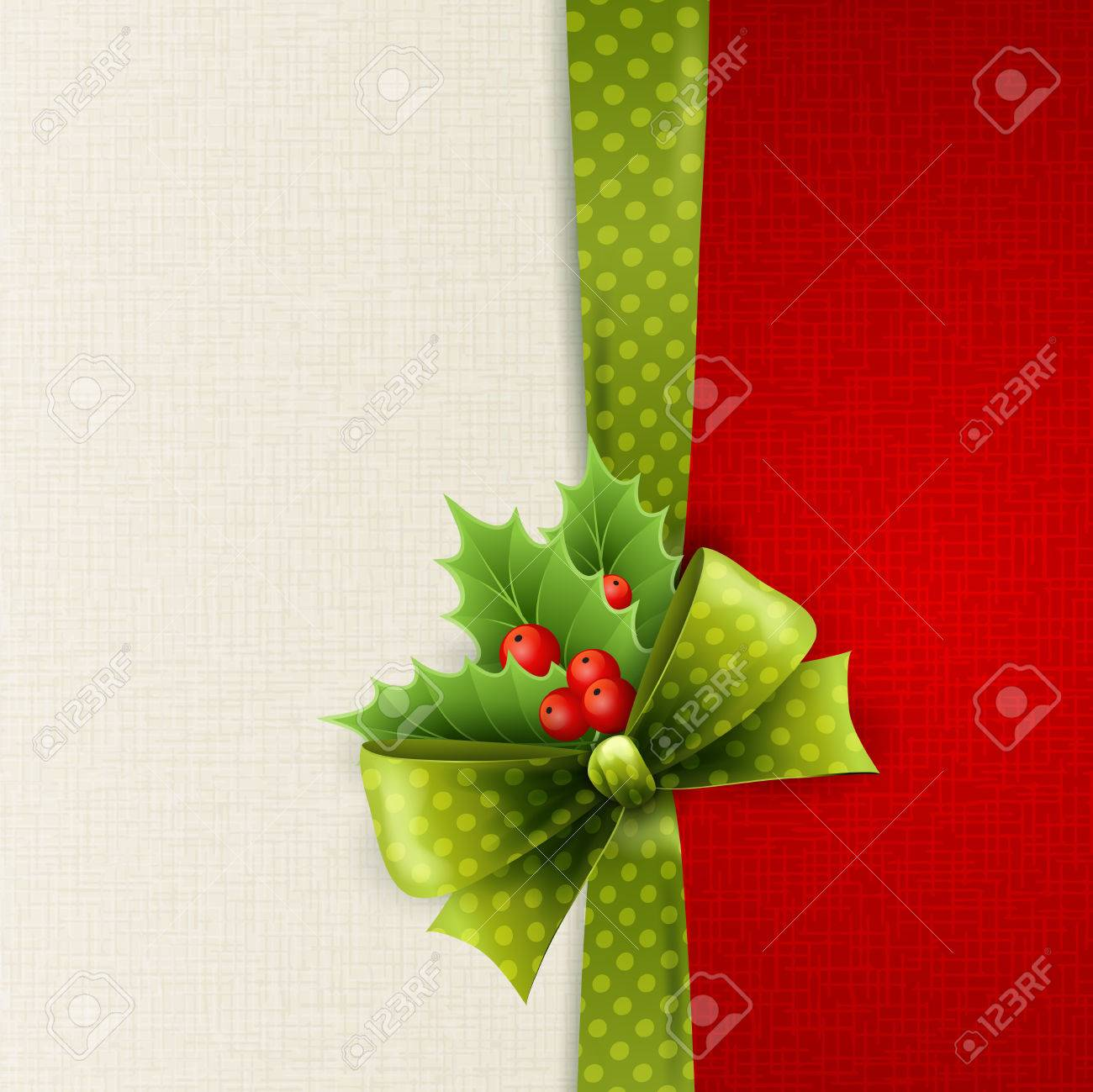 Vector Christmas card with green polka dots bow and holly Stock Vector - 23650619