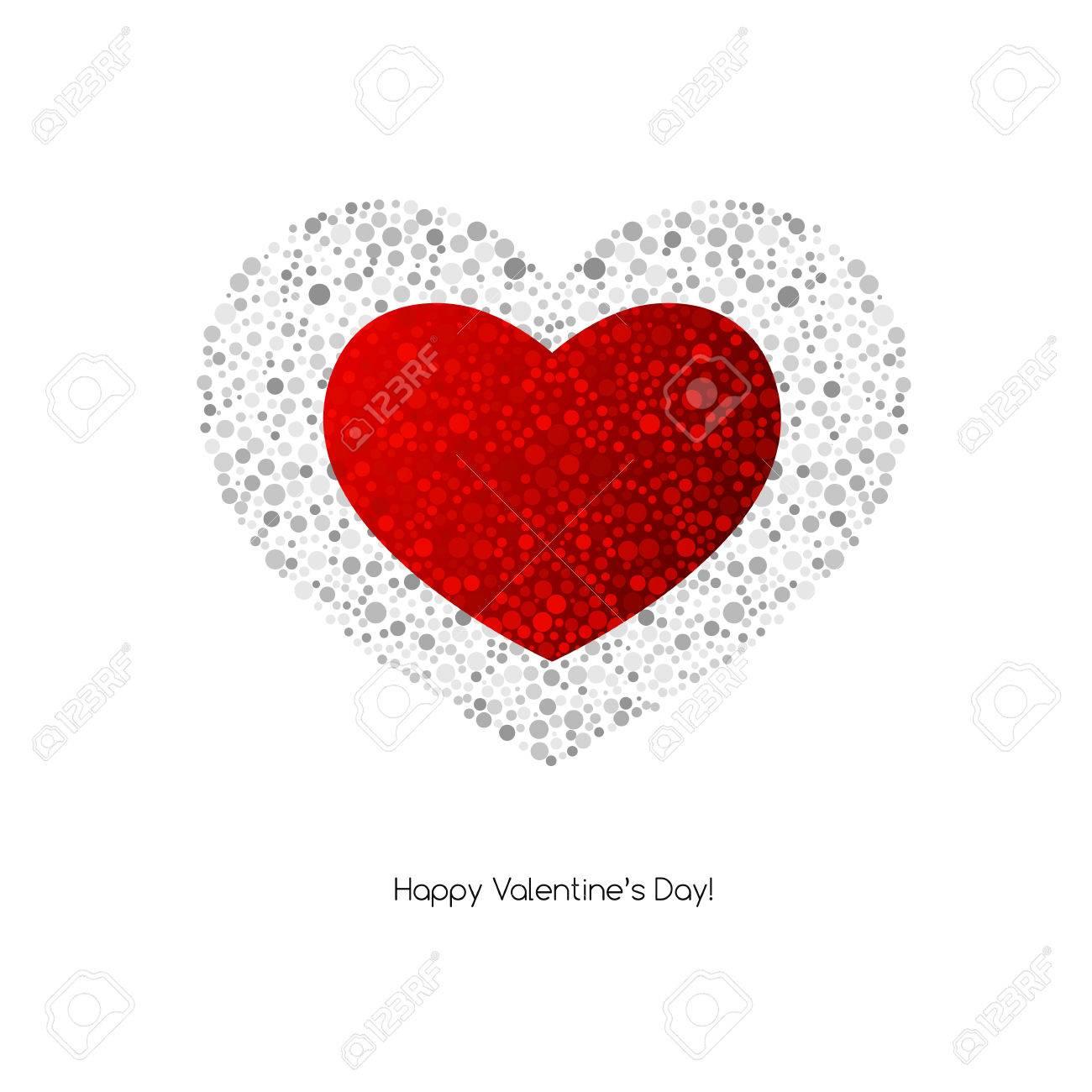 Vector De San Valentín Tarjeta Con El Corazón. Patrón De Puntos ...