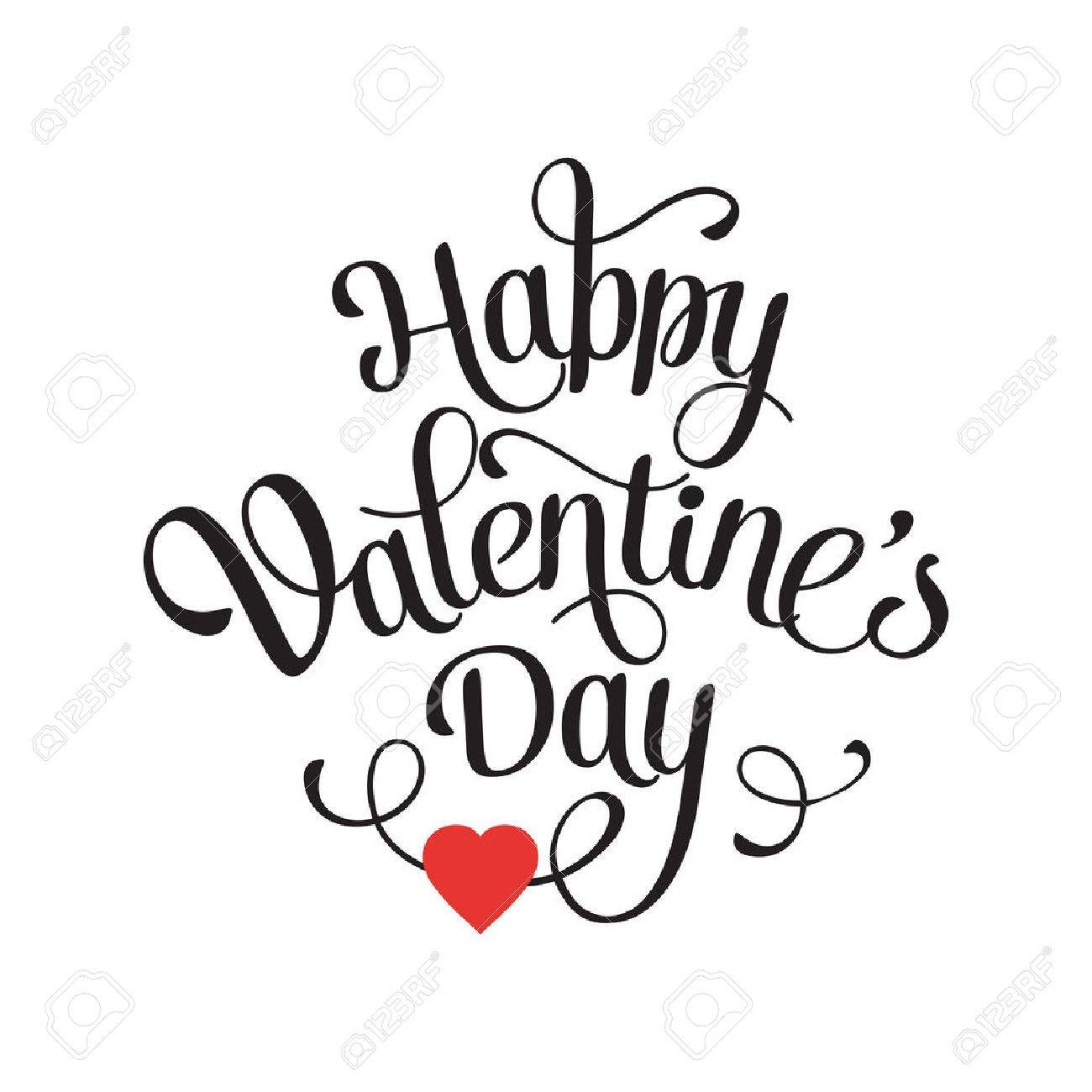 happy valentines day vintage card with lettering stock vector 36348773