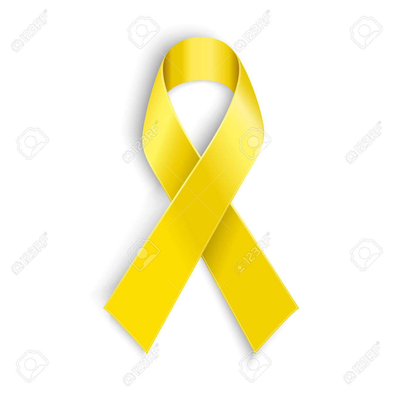 Vector Yellow Awareness Ribbon On White Background Bone Cancer And Troops Support Symbol Illustration