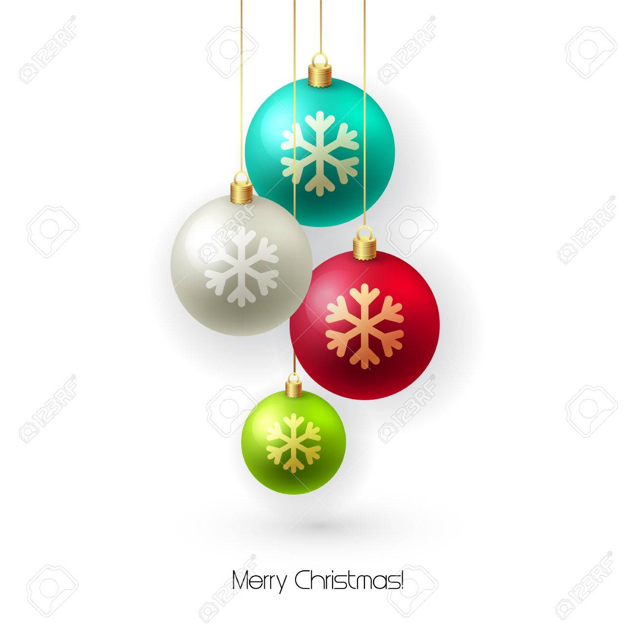 Christmas card with baubles. Christmas tree decoration. Vector illustration. - 45915950