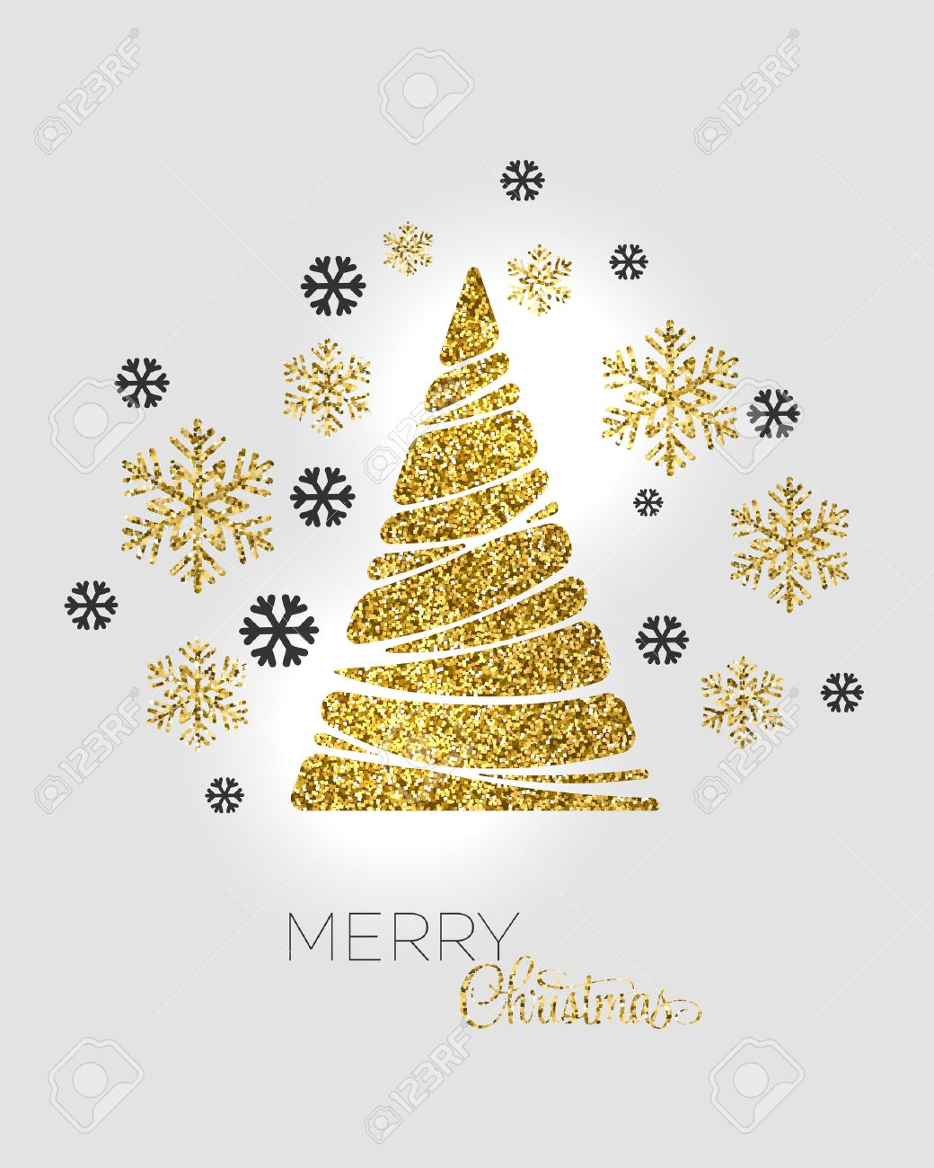 Vector Illustration Gold Christmas Tree Holiday Background