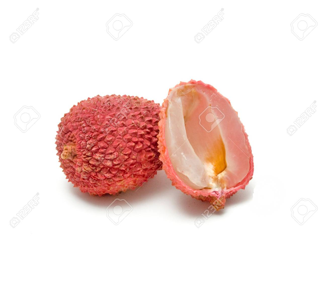 Lychee and its section isolated on white background Stock Photo - 5175491