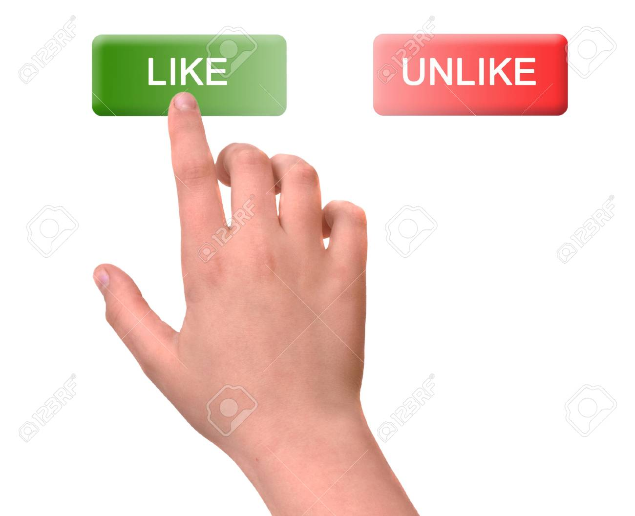 Girl pressing like button Stock Photo - 11835220