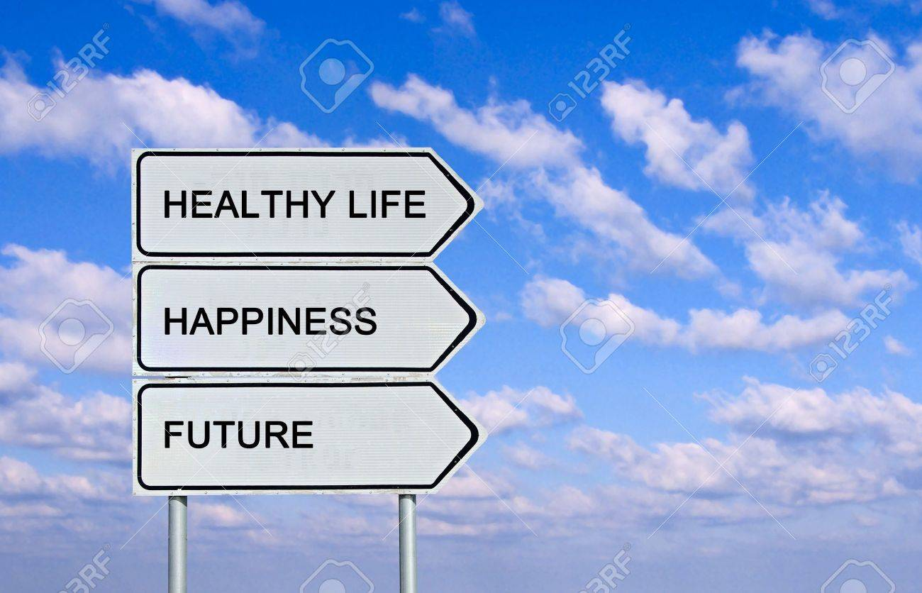 Road sign to healthy life, happiness, future Stock Photo - 13543612