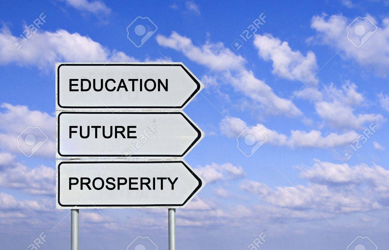 road sign to education prosperity and and future stock photo road sign to education prosperity and and future stock photo 14527771